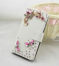 Bling Dragonfly Wallet Card Holder Leather Phone Flip Case Cover For Nokia