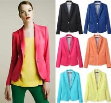 Candy Color Women One Button Foldable Sleeve Slim Casual Suit Blazer Jacket Coat