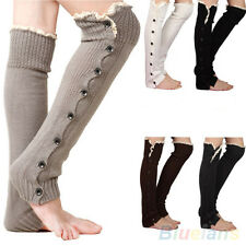 Elegant Button Stocking Crochet Knitted Leg Warmers Lace Trim Legging Boot Socks
