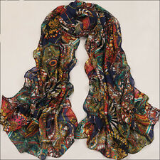 Hot Women Chiffon Silk Long Scarf Shawl Scarves Print Wheel Wraps Best Gifts