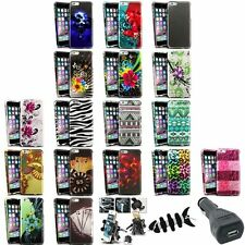 Colorful Rubberized Case+Vent Mount+Car Charger+Wrap For iPhone 6 Plus 5.5