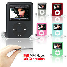 "Slim MP3 8GB 1.8"" LCD Media Video Game Movie Radio FM 3th Generation MP4 Player"