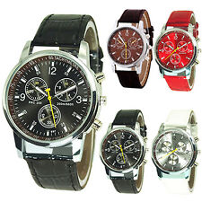 Mens Fashion Cool Round Dial Faux Leather Strap Quartz Men'S Sports Wrist Watch