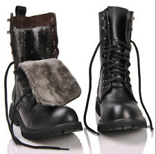 Retro Mens Winter Combat Ankle Boots British Style Fashionable Black shoes Size