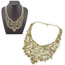 New Arrived Gold Alloy Lace Effect Hollow Out Bib Collar Cross Animals Necklace