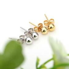 Silver/Golden Round Ball Bead Plated Stud Earrings Jewelry Gift for Women Lady