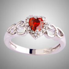 Dainty Heart Cut Ruby Spinel & White Sapphire Gemstones Silver Ring Size N P R T