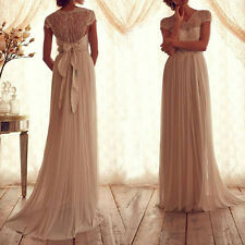 2015 Long Lace Evening Formal Party Ball Gown Prom Bridesmaid Dress Wedding