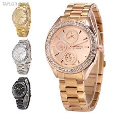 Taylor Cole 6 Hands Date Day 24 Hours Stainless Steel Quartz Lady Wrist Watch
