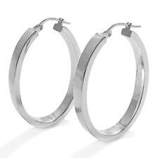 925 Sterling Silver Squared Flat Oval Hoop Earrings (2 Sizes Avail.)