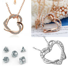 Fashion Trendy Heart Crystal Rhinestone Gold Filled Charm Chain Pendant Necklace