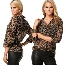 Sexy Womens Casual Loose Chiffon Leopard Print Long Sleeve Tops Blouse T-Shirt