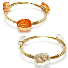 Gold Plated 8 Inch Stone Bangle Cuff Bracelet (Choose Color)