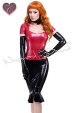 R1636 Ruffle RUBBER LATEX PIN UP SEXY SKIRT **Red or Black** Last few £99