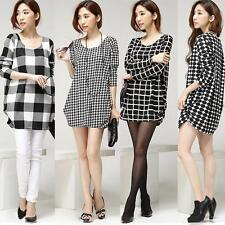 Lady Women T-Shirt Crew Neck Long Sleeve Casual Loose Top Plaid Dot Houndstooth