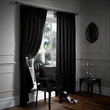 CHENILLE HEAVY & THICK FULLY LINED TAPE TOP PENCIL PLEAT CURTAINS + TIE BACKS