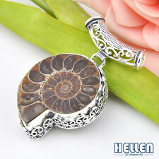 Classic Vintage Natural Ammonite Fossil Gemstone Silver Necklace Pendant 2 Inch