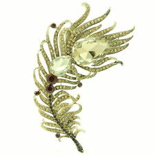 8 Color Peacock Feather Brooch Broach Pins Rhinestone Crystals For Women 5038