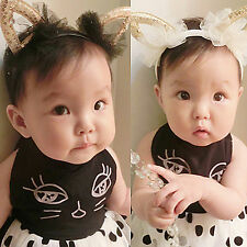 Women Girl Kids baby Bunny Cat Kitty Costume Ear lace Party Hair head band Prop