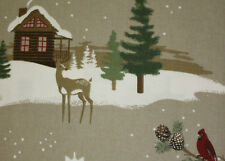 Cuddl Duds LOG CABIN Heavy Weight Cotton FLANNEL Sheet Set LODGE Deer Woods