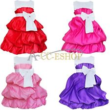 Flower Girl Princess Dress Kids Party Pageant Wedding Bridesmaid Tutu Dress 2-8Y