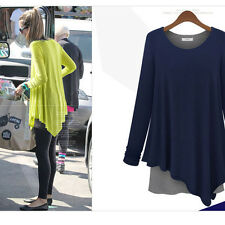 Women Cotton Long Sleeve Tops Casual T-shirt Long Tunic Asymmetric Loose Blouse