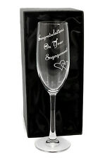 Personalised Congratulations on your Engagement Champagne Flutes Glass, Engraved