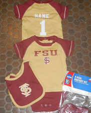 Florida State NCAA Infant Creeper Jersey Bib & Bootie Set add any name & number