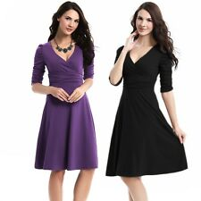 NEW Women's Sexy V-Neck Stretchy Maternity Tunic Dress OL Cotton Pleated Dress A