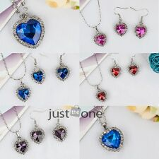 Hot Fashion Women Crystal Heart Of The Ocean Design Necklace Pendant Earring Set