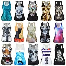 New Women's 3D Print Tank Top Vest Gothic Punk Clubwear Sleeveless T-shirt Tee