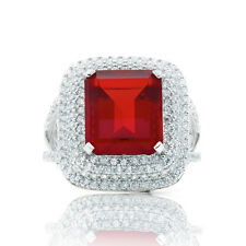 Blue Box Jewels Rhodium-plated Silver Emerald-cut Red Cubic Zirconia Cocktail Ri