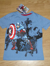 Boys Marvel Heroes Avengers Assemble Blue Short Sleeve T-Shirt Top. BNWT (169)