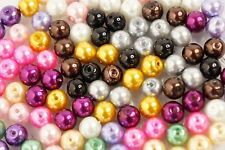 Wholesale Lot of 100 8mm Color Glass Pearl Pearlescent Beads for Jewelry Making