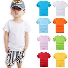 New Summer Kids Childrens Boys Girls Plain T Shirt  Tops Tee Cotton 9 Colours