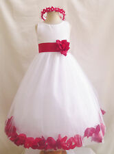 WHITE RED BLACK BROWN BURGUNDY ROSE PETALS COMMUNION WEDDING FLOWER GIRL DRESS