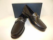 NEW COLE HAAN FAIRMONT BLACK SMOOTH LEATHER LOAFERS WITH A PEWTER BIT ON VAMP