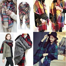 Women Blanket Oversized Tartan Scarf Wrap Shawl Plaid Checked Pashmina 1pc