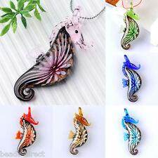 1x Lampwork Glass Sea Horse Flower Inlaid Murano Bead Pendant For Chain Necklace