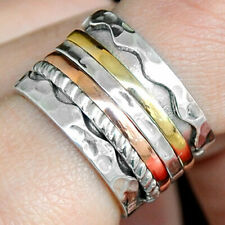 Sterling Silver 925 Spinning Ring Meditation Spin Spinner Copper Unusual New Co1