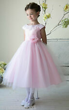 Gorgeouse Blush Pink tulle wedding evening party gown pageant flower girl dress