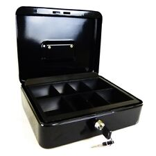 "PETTY CASH MONEY BOX 6"" 8"" 10"" 12"" WITH 2 KEYS AND CASH CHANGE TRAY MONEY SAFE"