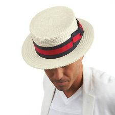 Mens Straw Boater Hat Skimmer Sailor Barbershop Scala Size S M L XL XXL New