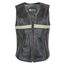 Xelement Women Touring Brown Leather Biker Motorcycle Vest