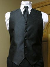 Vest Black Paisley Full Back Necktie or Bowtie Tuxedo Wedding Steampunk Prom