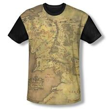 Lord Of The Rings LOTR Middle Earth Map T-Shirt Adult Men White Front Black Back