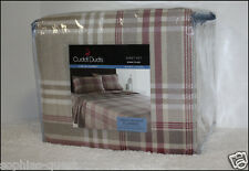 Cuddl Duds KHAKI Red PLAID Heavy Weight 5 oz Cotton FLANNEL Sheet Excellent =NEW