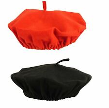 ADULT BLACK RED BERET FRENCH FLAT CAP HAT UNISEX FANCY DRESS ACCESSORY ONE SIZE