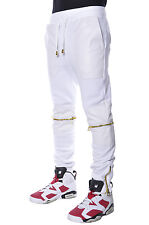 Plus Size Hip Hop Basic Elastic Harem Fleece White Zipper Stitch Urban Pants
