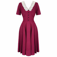 Hell Bunny Juliana Raspberry Red 1940s WW2 Wartime Victory Tea Dress
